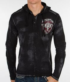 """Affliction Transitional Henley Hoodie"" www.buckle.com"