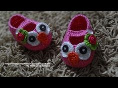 owl baby shoes. video tutorial, but in portugese.