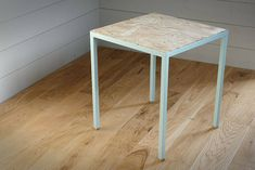 Structure steel welded, painted and varnished. Brand new, made by hand and made to order Dimensions: side: 40 cm height: 45 cm Steel Coffee Table, Steel Table, Plywood Table, Furniture, Home Decor, Plywood Desk, Decoration Home, Room Decor, Home Furnishings