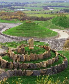 "A former coal mine was transformed into a work of land art named ""Crawick Multiverse"" by architect Charles Jencks in Sanquhar Village, Scotland. The dramatic earthworks includes the two galaxy mounds – Andromeda and the Milky Way. Places Around The World, The Places Youll Go, Places To See, Around The Worlds, Outlander, Going Out Of Business, Coal Mining, Scotland Travel, Skye Scotland"