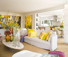 Colorful Spring Decorating Ideas for Living Rooms, Stylish Decorating Tips Yellow Living Room Decor Decor Home Living Room, Bohemian Living Rooms, Small Living Rooms, Living Room Designs, Yellow Home Decor, White Decor, Mellow Yellow, Bright Yellow, Home Design