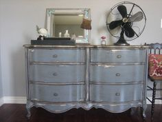 Antiqued Gray French Provincial Dresser