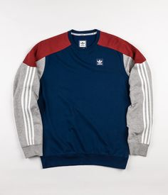 Adidas Climalite Nautical Crewneck Sweatshirt - Mystery Red / Mystery Blue / Medium Grey Heather / White