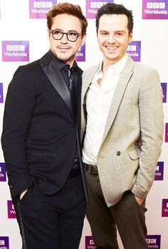 Robert Downey, Jr. and Andrew Scott...the #Sherlock franchises collide.  OHHH MY GAWD yes!