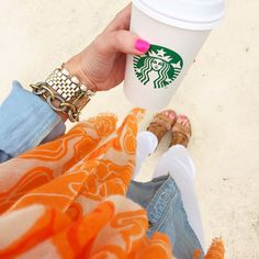 chambray shirt - white skinny jeans - cognac heeled sandals - orange scarf   southern curls + pearls