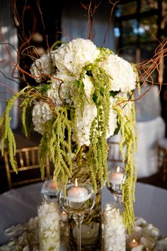 White hydrangea and green hanging amaranthus.
