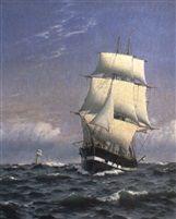 Marine med skib for fulde sejl by Christian Blache