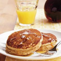 You can give these pancakes a PB&J flavor profile by spreading them with grape or strawberry jelly. Or just drizzle them with syrup.