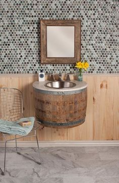"""For """"Most innovative bathroom furniture"""" Native trails wins with Bordeaux Wall Mount - wine barrel bathroom sink! Wine Barrel Sink, Wine Barrels, Wine Cellar, Wine Barrel Furniture, Sweet Home, Wall Mounted Vanity, Home And Deco, Bathroom Furniture, Bathroom Vanities"""