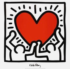 Untitled, 1988 (Two Figures with Heart), Exhibition Poster, Keith Haring