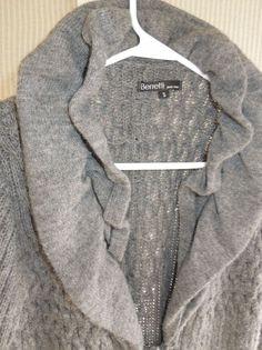 Women SZ S,M Cardigan Long Sweater Coat Italy Wool Mohair Ruffle Collar Tie   #Berretti #Sweatercoat #fashion #forsale
