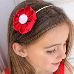 Red & White Kanzashi Fabric Flower-Available in 4 Styles