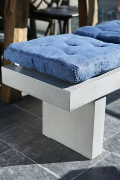 Denim Bench Cushion // Blogg Home and Cottage