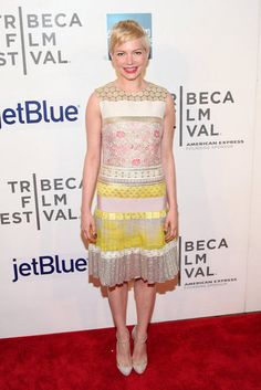 Michelle Williams looked sweet in this extra-cute dress at the Tribeca Film Festival.