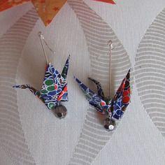 Boucles d'oreille grue origami papier japonais
