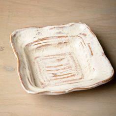 etta b pottery white square dish
