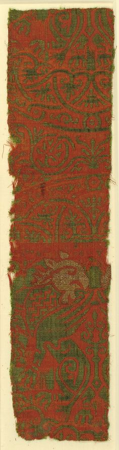 Textile with Brocade Date: ca. 1200 Culture: Spanish Medium: Silk, gilt silver thread Accession Number: 17.121.4