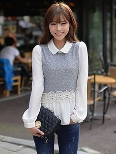 Patch Color Doll Collar Crochet Ruffle Chiffon Blouse