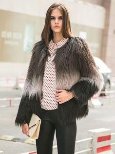 Brown Quality Tie-Dye Faux Fur Warm Coat - Fashion Clothing, Latest Street Fashion At Abaday.com