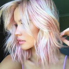 Unicorn hair color ❤ liked on Polyvore featuring beauty products, haircare, hair color, hair, beauty, hairstyle and people