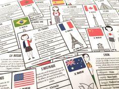 Pour les enfants en quête de découverte du monde, pour tous ceux qui s'intéressent aux drapeaux comme les miens, bref pour tous les enfants curieux, voici des cartes de différents pays du monde.    Sur ces cartes