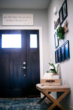 Home Make-Over with Indigo Pops — This Old New House Potted Succulents, Succulent Pots, Wooden Arrows, White Throw Pillows, Entry Foyer, Design Trends, Greenery, Indigo, New Homes