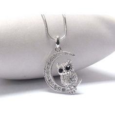 Crystal Owl Necklace ($15) ❤ liked on Polyvore featuring jewelry, necklaces, owl pendant jewelry, pendant jewelry, crystal pendant jewelry, crystal pendant and crystal necklace