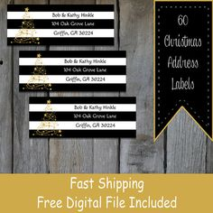 60 Personalized Christmas Themed Address Labels by OhBabyStickers