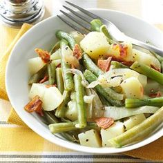Easy Beans & Potatoes with Bacon Recipe -I love the combination of green beans with bacon, so I created this recipe. It's great for when you have company because you can start the side dish in the slow cooker and continue preparing the rest of your dinner.—Barbara Brittain, Santee, California