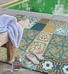 Namada Blue Rug, a hand-woven polypropylene loop outdoor rug (available in 3 sizes, from £300.00) http://www.therugswarehouse.co.uk/modern-rugs3/outdoor-rugs/namada-blue-rug.html #rugs #outdoorrugs