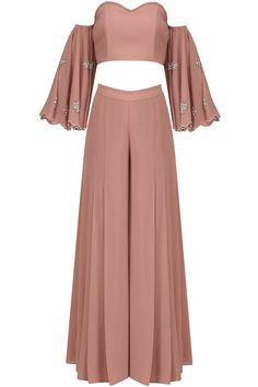 Ruhmahsa presents Blush pink off shoulder embroidered crop top and palazzo pants set available only at Pernia's Pop Up Shop. Indian Gowns, Indian Attire, Indian Wear, Indian Outfits, Indian Fashion Trends, Indian Designer Outfits, Designer Dresses, Diwali Outfits, Dress Indian Style