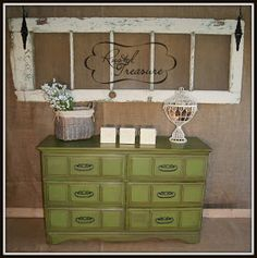 green painted chest, refinished furniture, re-purposed, TV stand, buffet, green, old door, rustic door