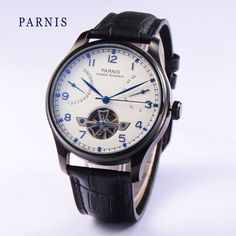 97.00$  Watch here - http://alic09.worldwells.pw/go.php?t=32696590593 - 2016 Fashion 43mm Parnis Tourbillon Watches Automatic Power Reserve White Dial Black PVD Watch Case Men's Mechanical Wristwatch