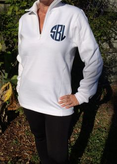 Monogrammed 1/4 Zip Pullover - pinned by pin4etsy.com