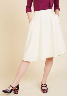 Just This Sway Midi Skirt in Ivory. You definitely have that swing when you step out in this ivory midi skirt! #cream #modcloth