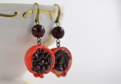POMEGRANATE earrings  Polymer clay  Natural Garnet  Miniature Fruit Red Bronze Jewelry  Super gift  Art Deco. $28.00, via Etsy.