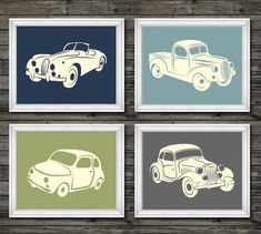 Vintage car and truck decor, vintage nursery decor, boys transportation prints, transportation nursery theme, boys car nursery, navy, green