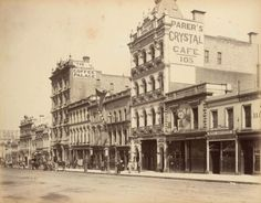 The late Bourke Street, Melbourne, Victoria. North side between Russell and Swanston Streets showing Parer's Crystal Cafe at No. Melbourne Coffee Palace and the Wax Works. Melbourne Coffee, Melbourne Hotel, Melbourne Victoria, Victoria Australia, Melbourne Australia, Edwardian Hotel, Edwardian Era, Victorian, Vintage Pictures