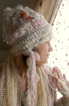 knit hat rustic curly super soft and warm by beautifulplace, $80.00