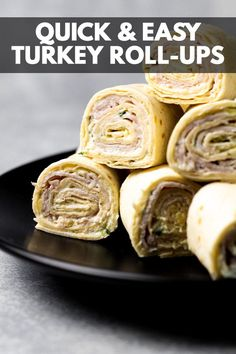 Turkey Roll-Ups – Tortilla wraps filled with a layer of herbed cream cheese and slices of cooked turkey. They are then rolled up and sliced into bite-sized pinwheels. Perfect for lunchboxes or picnics! Roll Ups Tortilla, Tortilla Wraps, Turkey Roll Ups, Maple Glazed Salmon, Honey Lime Chicken, Printable Recipe Cards, Cooking Turkey, Quick Snacks, Ham And Cheese