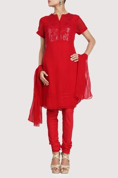Red hued georgette suit with delicate mesmerizing ornamented bodice. Shop Now: www.karmik.in/shopping/index.php