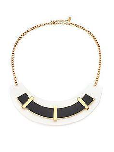 ABS Black & White Arc Necklace - Gold  - Size No Size