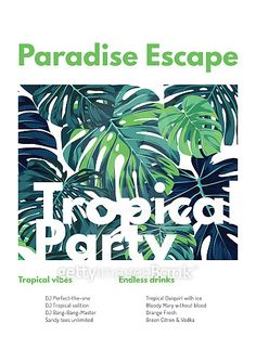 Summer vector tropical party flyer design with green monstera palm leaves. Space for text