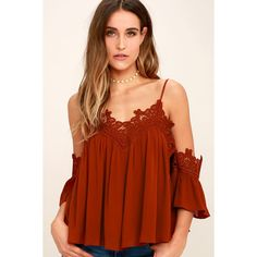 b633c83d27891 Daily Devotion Rust Red Lace Off-the-Shoulder Top ( 48) ❤ liked