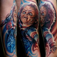 Chucky going in for the kill. Tattoo by Cecil Porter. #Chucky #ChildsPlay #horror #doll #realism #colorrealism #CecilPorter