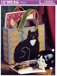 Free Plastic Canvas Purse Patterns   CAT TOTE BAG plastic canvas pattern RARE by puddinpop on Etsy