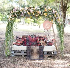 flower arch pillows