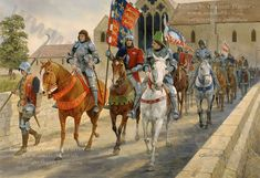 On 21st August 1485 King Richard III leads his army out of Leicester, past Austin Friars and over Bow Bridge, en-route to Bosworth and his fateful confrontation with the invading army of his adversary for the throne, Henry Tudor. This was painted in 1999. Richard Iii, Medieval Knight, Medieval Armor, Lancaster, Anne Neville, Warrior King, Late Middle Ages, Plantagenet, Wars Of The Roses