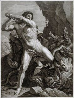 Gilles Rousselet - Hercules killing the Hydra Classical Mythology, Greek And Roman Mythology, Greek Gods And Goddesses, Rennaissance Art, Anatomy Sculpture, Legends And Myths, Sketches Of People, Scary Art, Figure Sketching