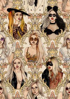 Lady Gaga fan art by the great Helen Green